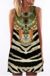 Sin mangas de la vendimia rayas de tigre Impreso mini vestido para las mujeres