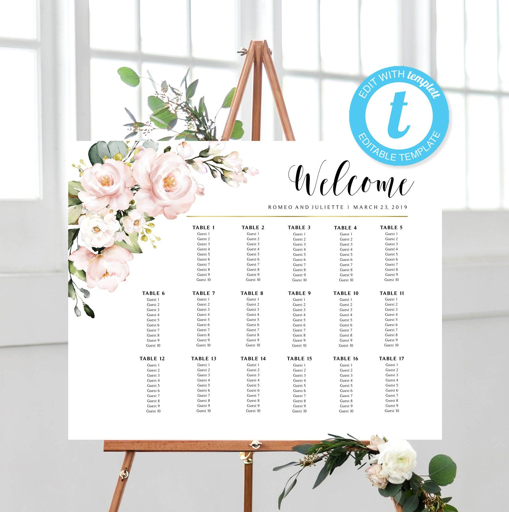Seating Chart EDIT with Templett Instant Download