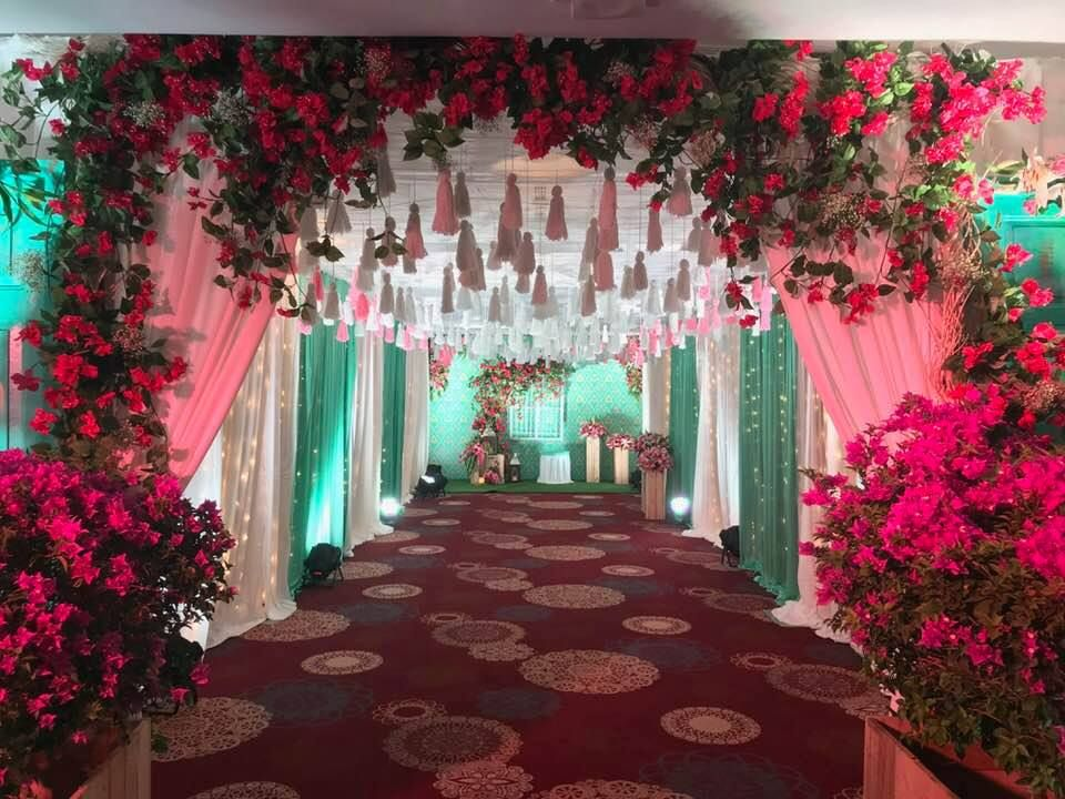 Pink Aqua Blue Contemporary Decor With An Old World Charm Indian Wedding Theme Wedding Entrance Decor Indian Wedding Decorations Blur wedding hall background hd