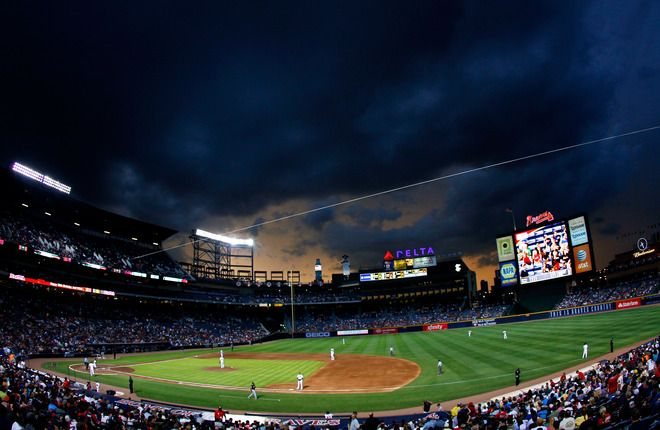 A view of Turner Field with Atlanta Braves against the Miami Marlins