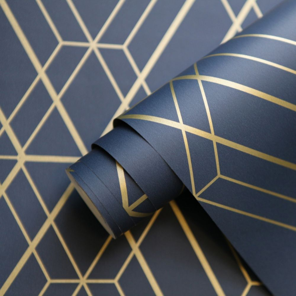 Metro Diamond Geometric Wallpaper Navy Blue And Gold Wow003 In