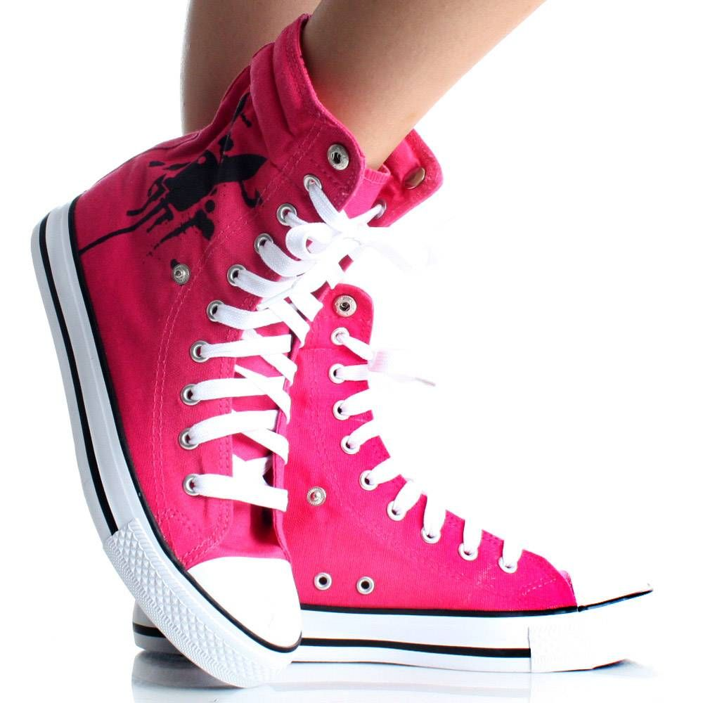 Playboy Bunny Womens High Top Sneakers Skate Shoes Pink Lace Up Boots 983f7fb41