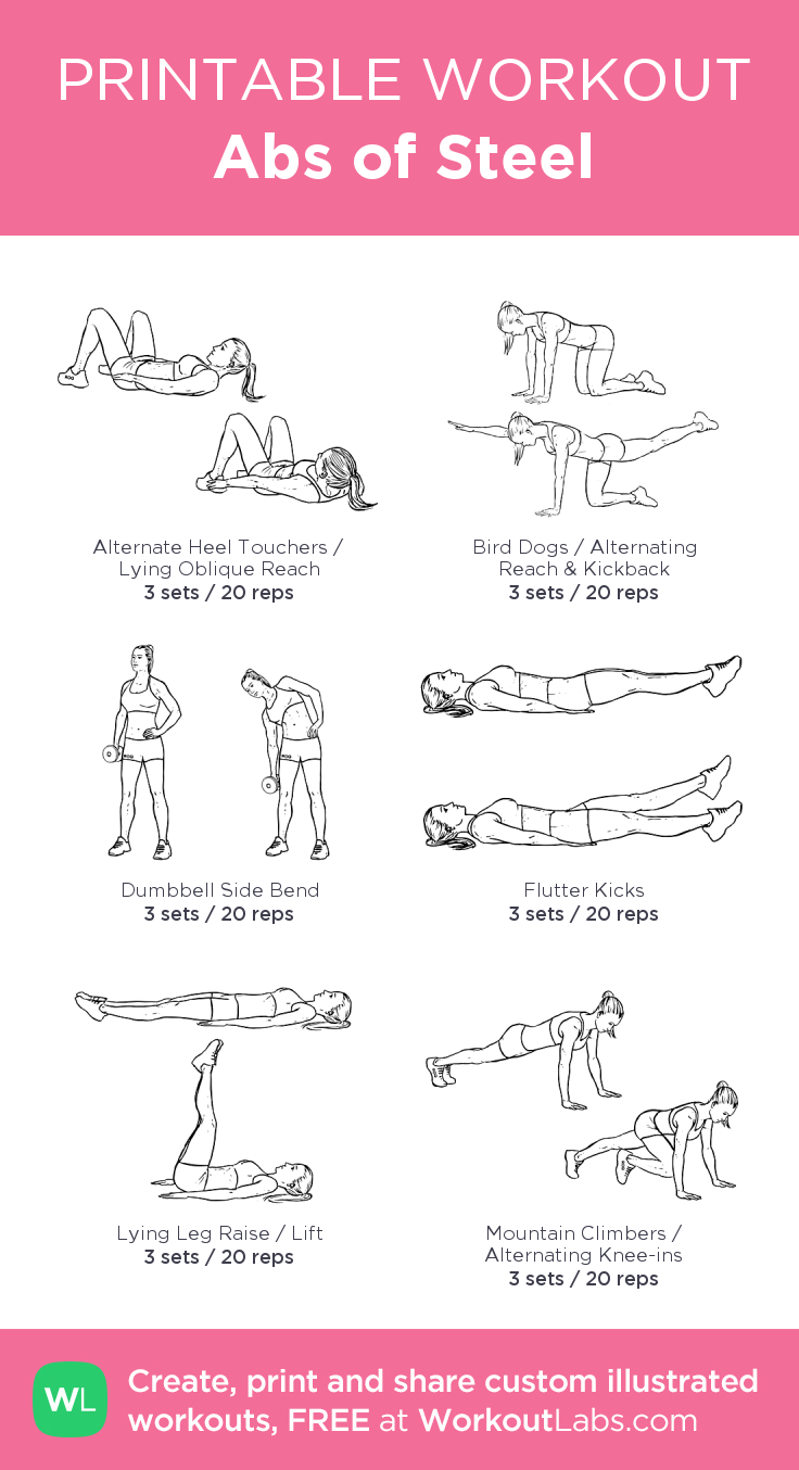 Abs of Steel:my visual workout created at WorkoutLabs.com • Click through to customize and download as a FREE PDF! #customworkout