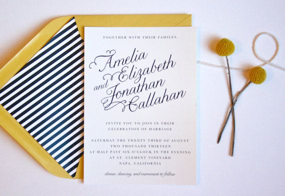 navy gold/yellow color palette Calligraphy Slant Wedding Invitation // Save by PuddleduckPaperCo