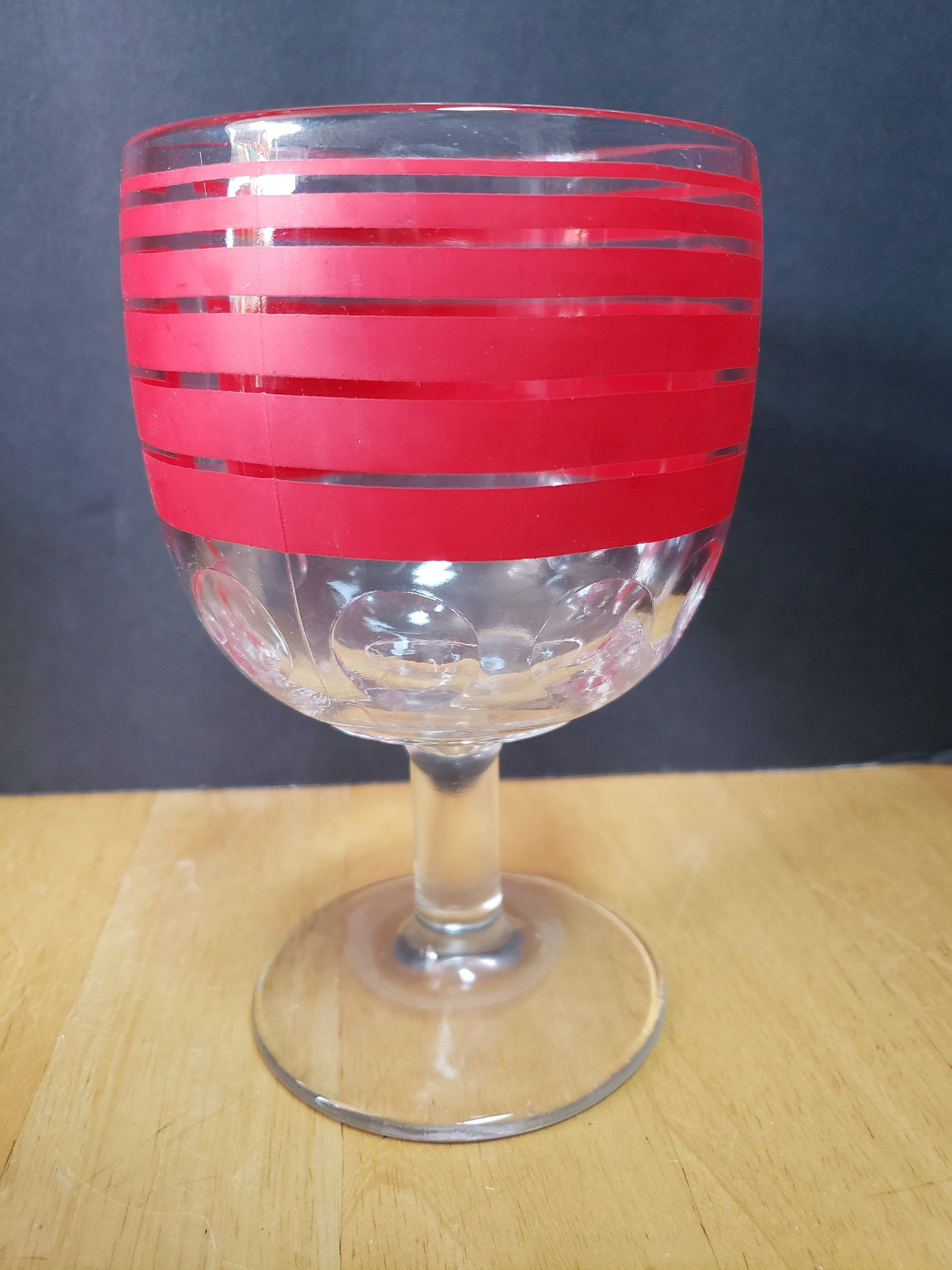 Retro Red Striped Thumbprint Glass Water Juice Goblet Stemware By Antiqueswithmore On Etsy In 2020 Stemware Red Stripes Crystal Bead Necklace