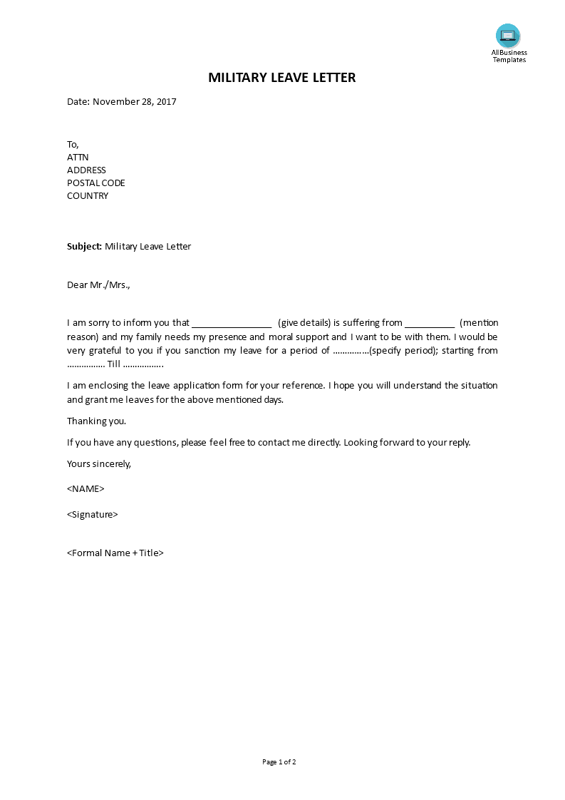 Military Leave Request Letter from i.pinimg.com