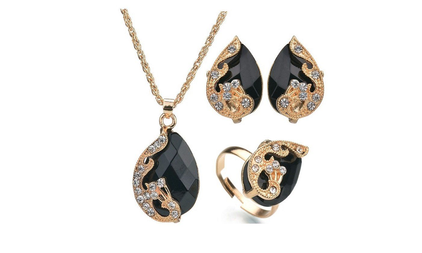 Gold color peacock jewelry set for women peacocks shape patterns