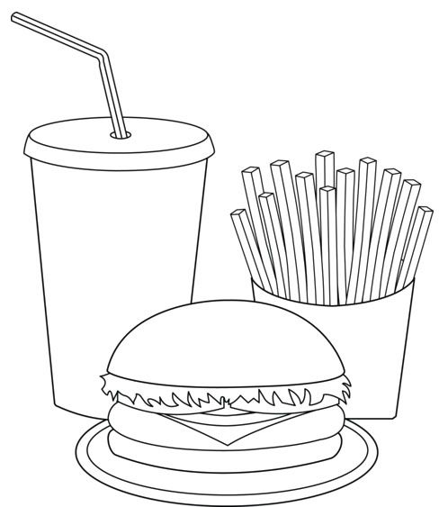 Printable Fast Food Coloring Pages Printable Fast Food Coloring Pages Food Coloring Pages Food Coloring Coloring Pages