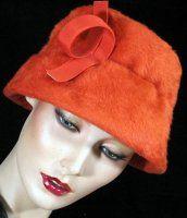 Orange Faux Fur Hat circa 1960's - SOLD!!!