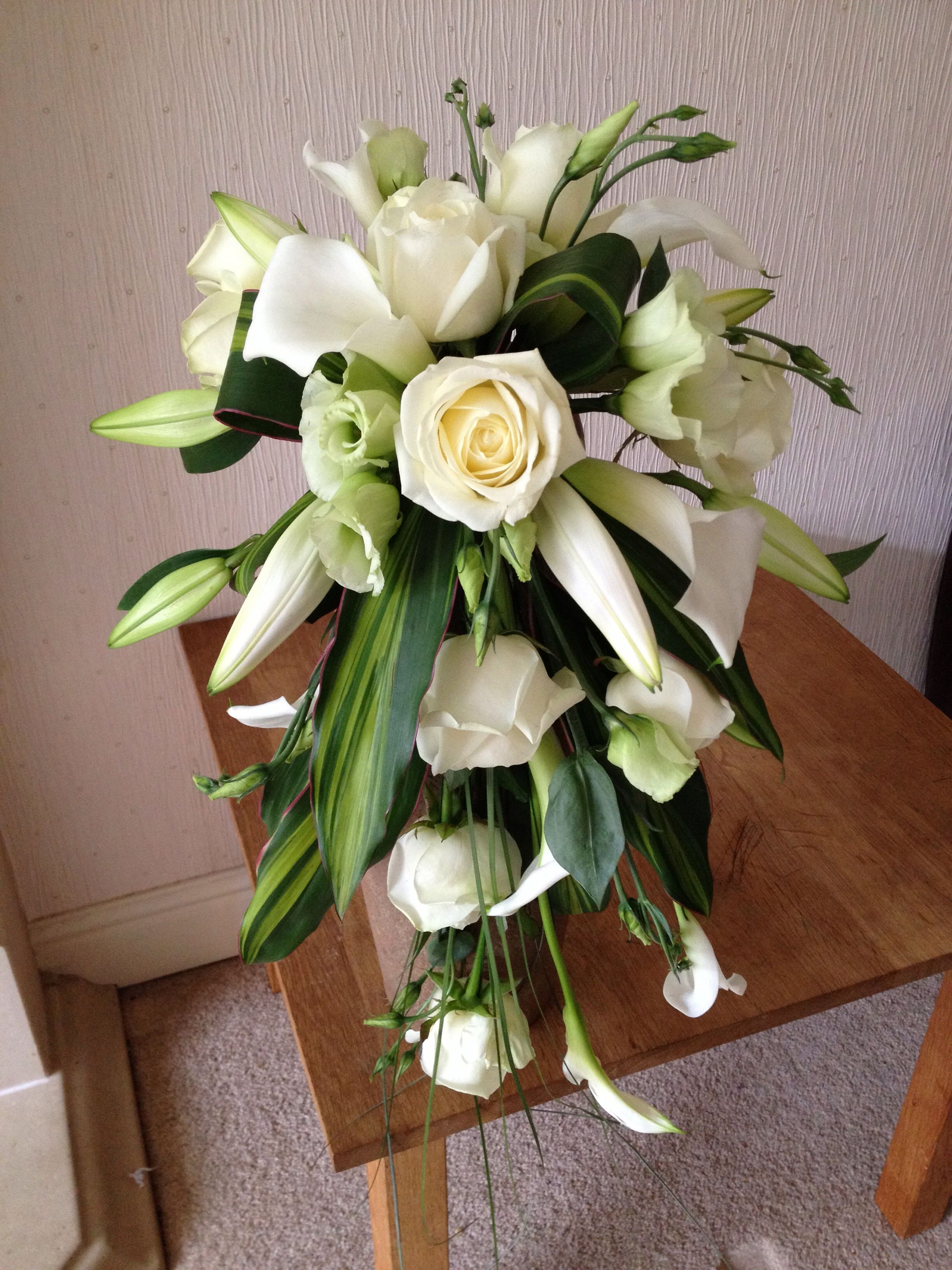 Brides shower bouquet avalanche roses calla lilies and oriental brides shower bouquet avalanche roses calla lilies and oriental lilies dhlflorist Choice Image