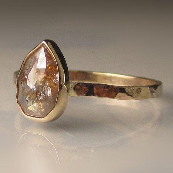 Stunning, natural, conflict free rose cut diamond set in 14k gold bezel on 14k…