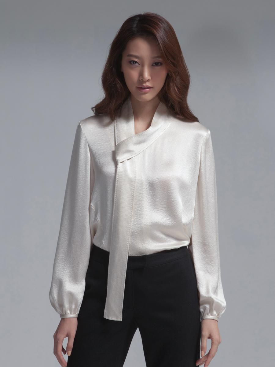 a1e6c5583a799e Silk hammer satin long sleeves tie blouse By Shanghai Tang | STYLE ...