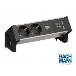 Bachmann Desk 2 Alu Black Steckdosenleiste Usb 937 8001 In 2020 Steckdosenleiste Steckdosen Mehrfachsteckdose