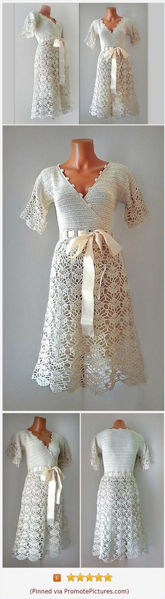 Simple bridal dress with short sleeves midi wrap lace dress boho