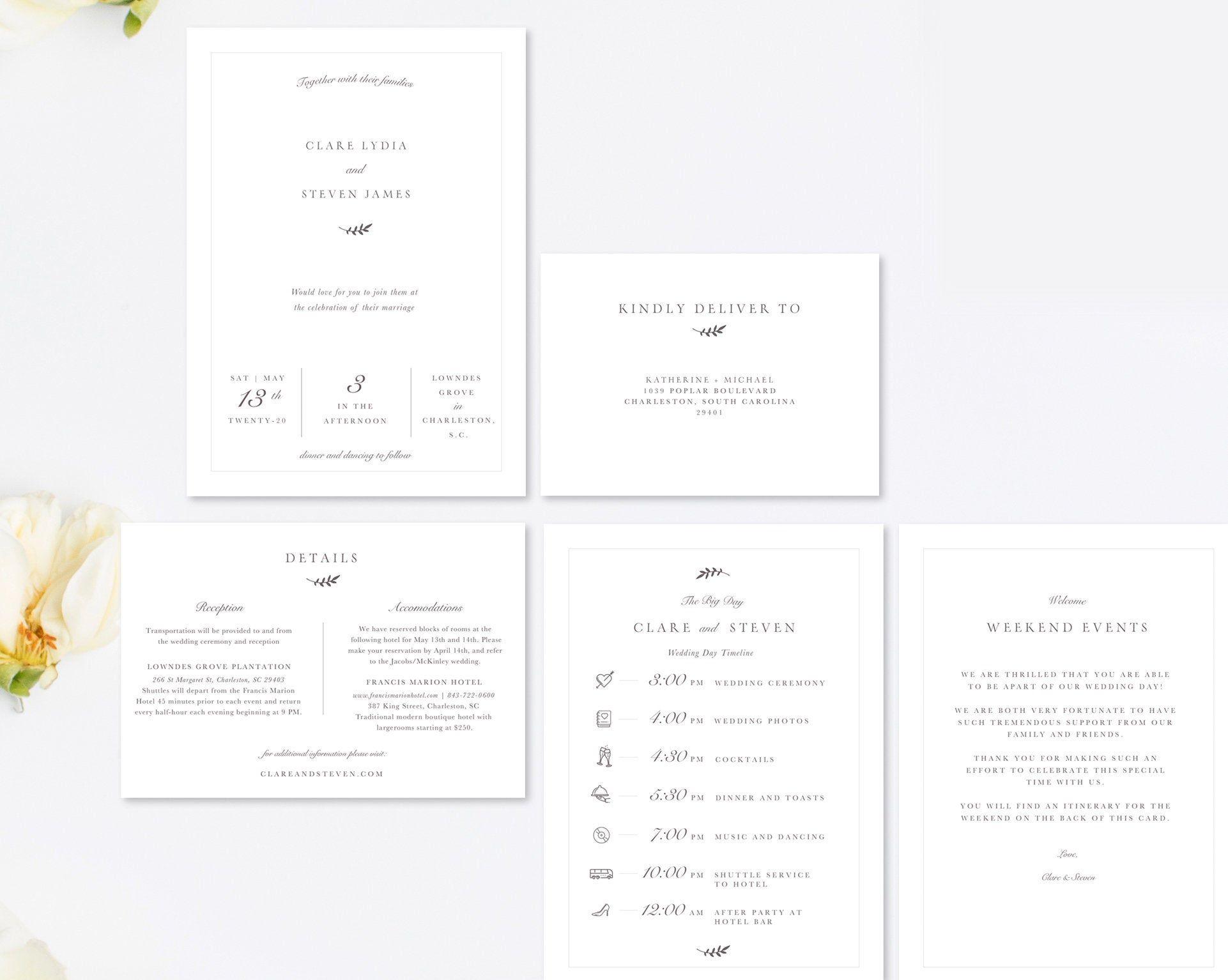 Classic Wedding Invitation Suite, Templates