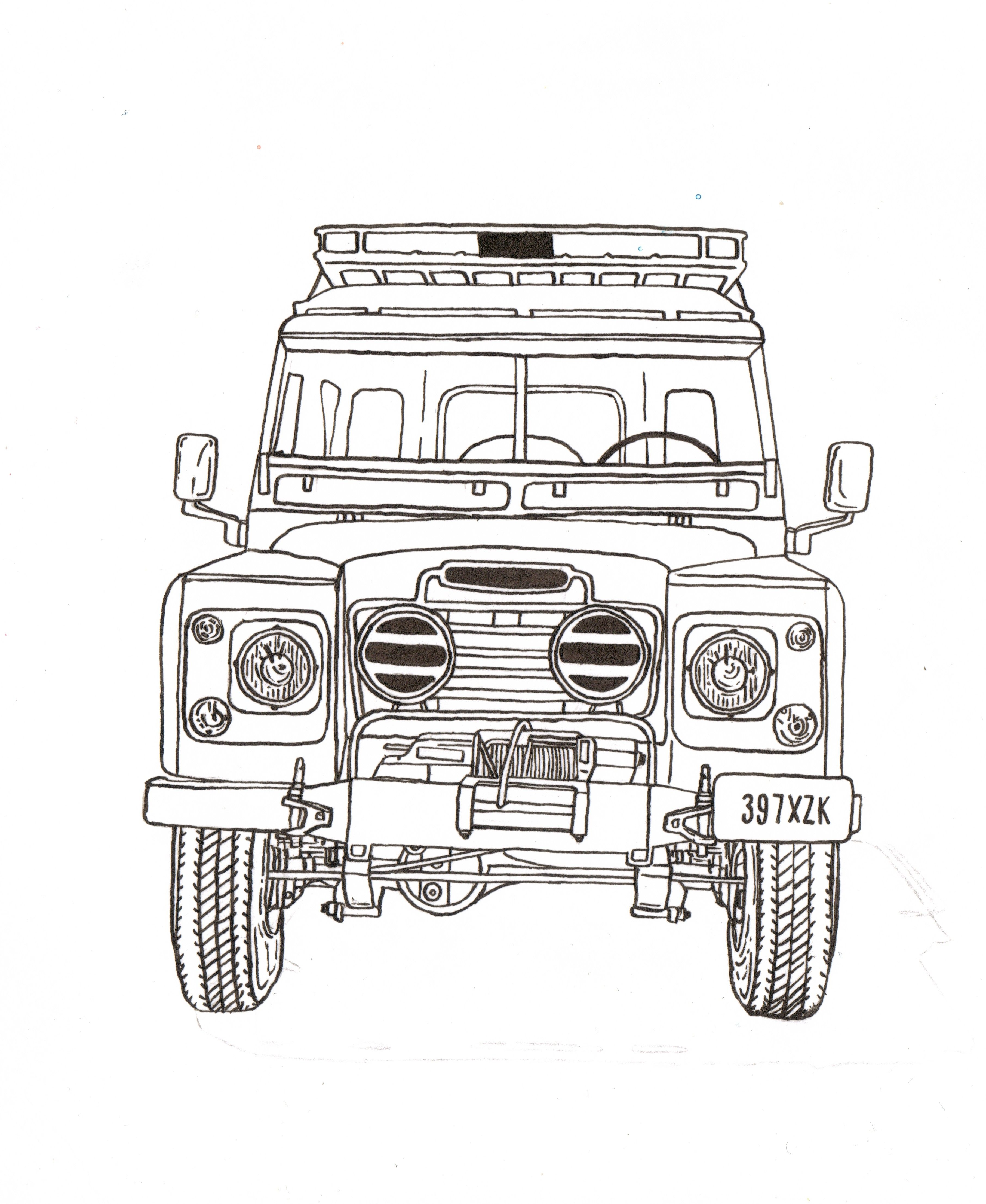 Land rover series iii ink drawing