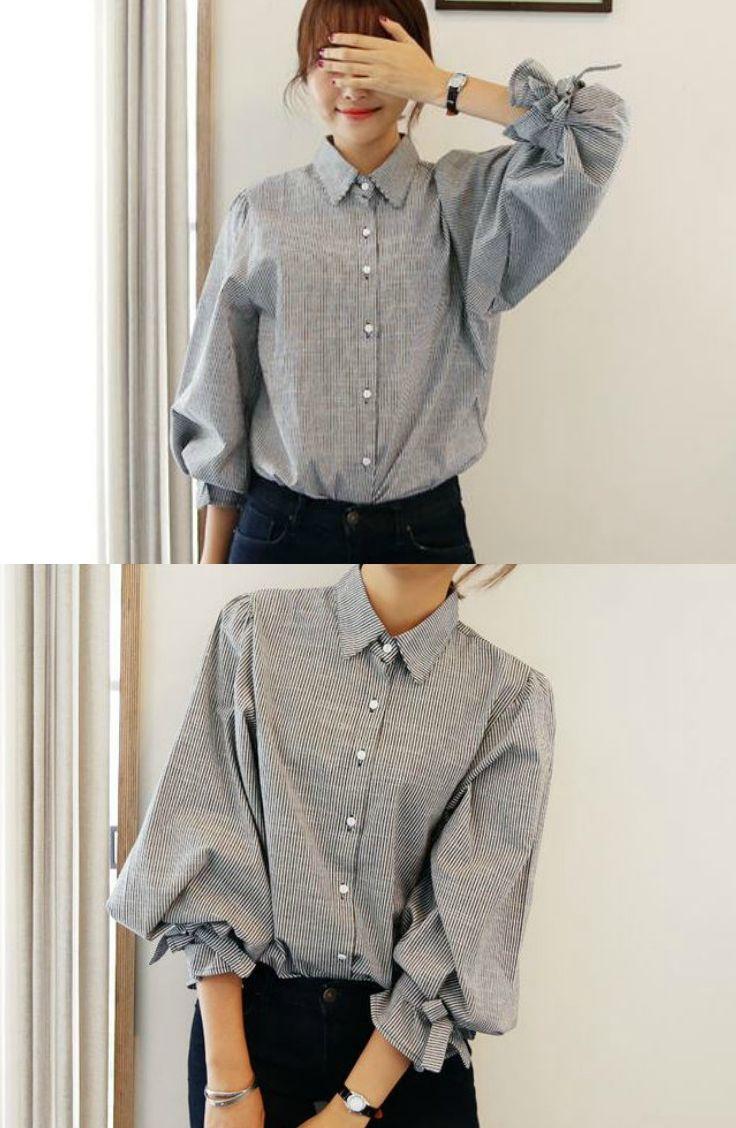 Tiecuff striped blouse korean fashion clothes and asian street