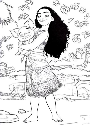Walt Disney Coloring Pages - Moana Waialiki & Pua - Walt Disney ...