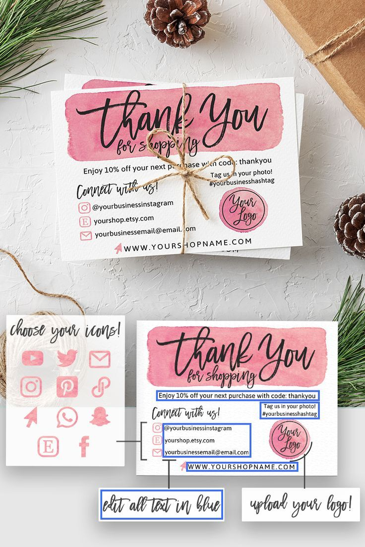 Instant download editable and printable thank you card for