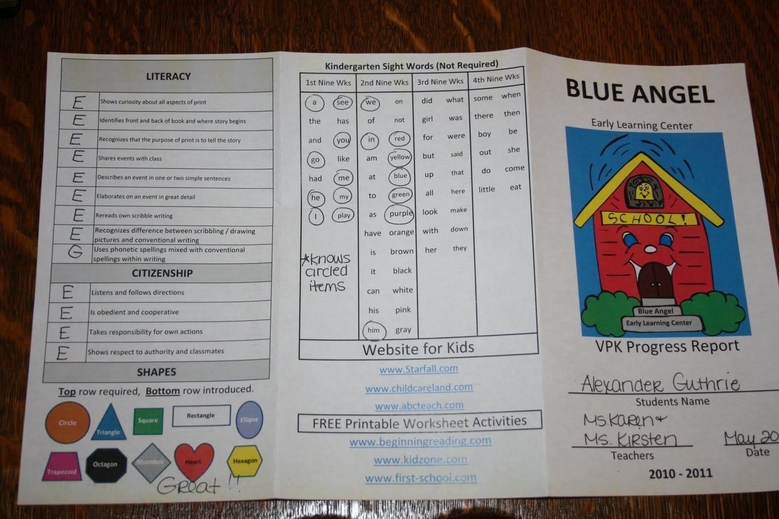 sample preschool report card Google Search Preschool