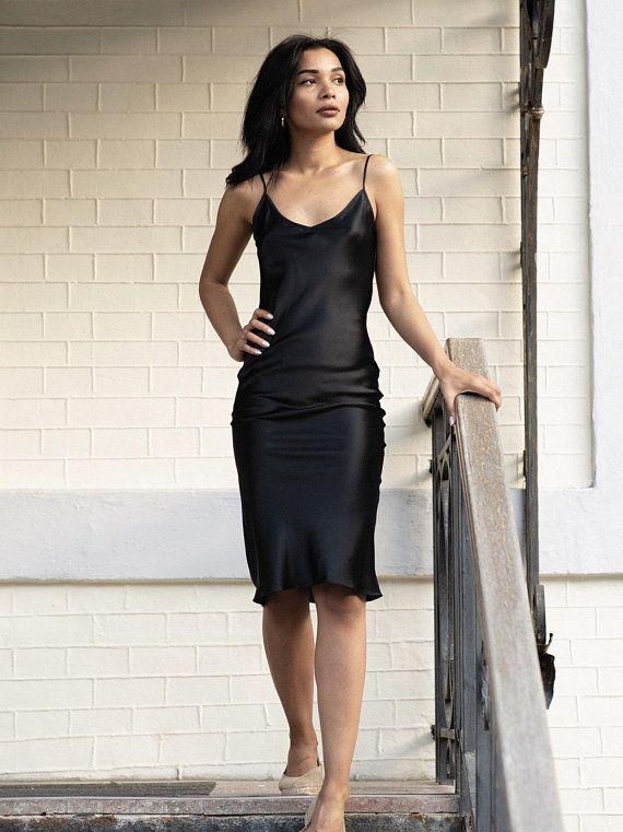 be2d184da94 Natural silk slip dress black midi Silk cami dress Black silk ...