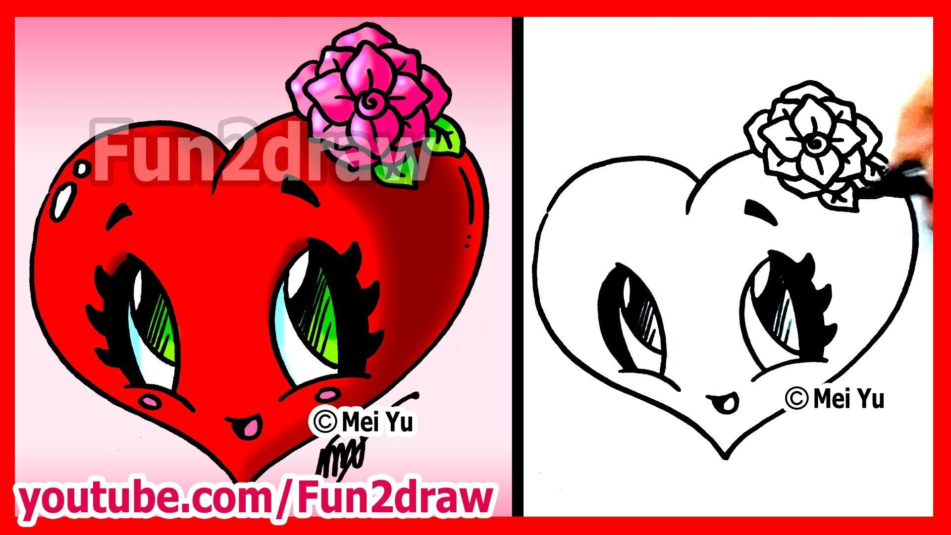 How To Draw Easy Things Heart With Rose Fun2draw Valentine S Flower Drawing Fun2draw Roses Drawing