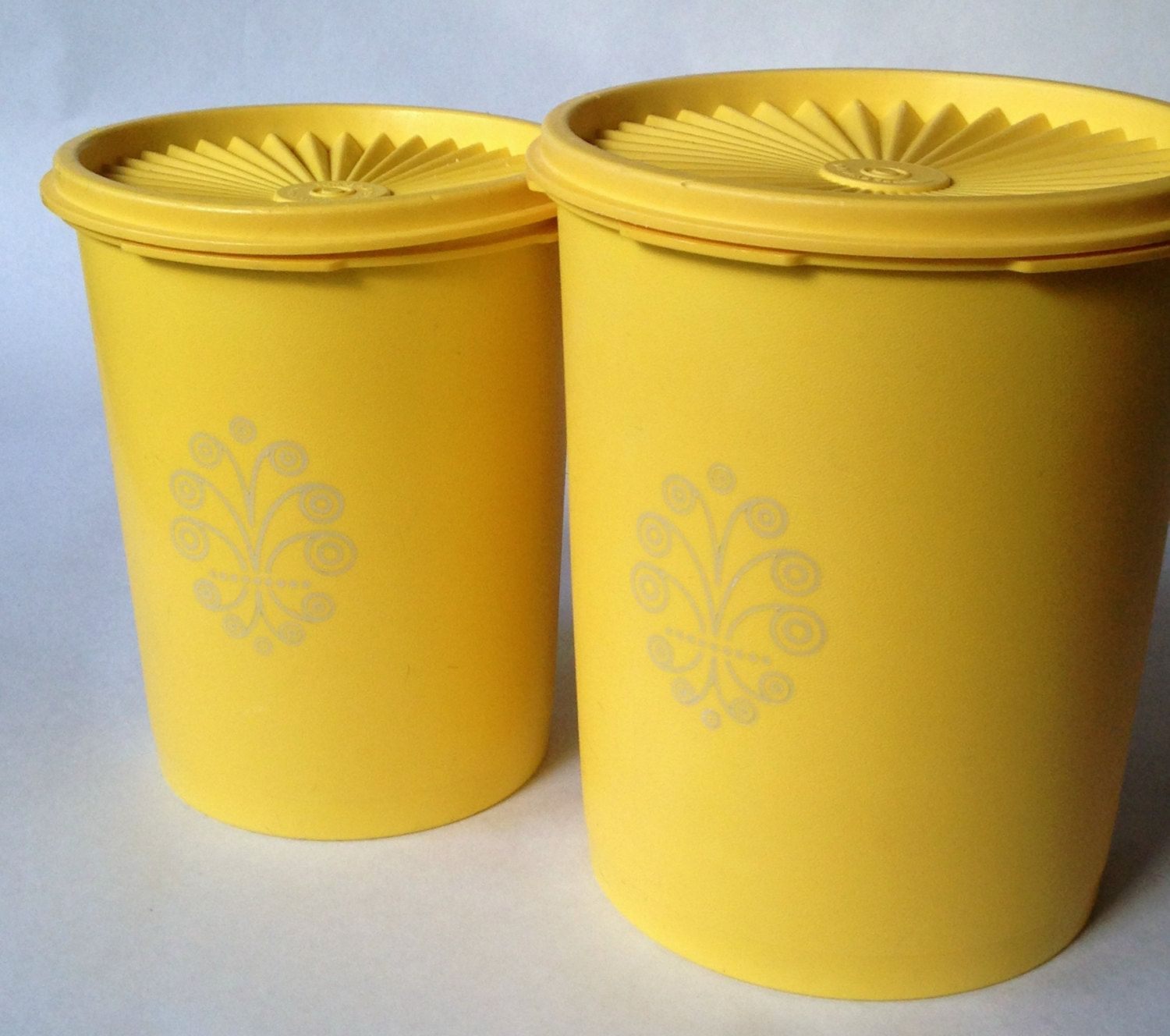 Tupperware 2 Piece Canister Set; Vintage Harvest Gold Old