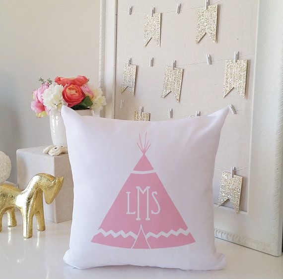 Monogram Throw Pillow Cover - Play Tent Tee Pee Newborn Baby Girl Baby Boy & Monogram Throw Pillow Cover - Play Tent Tee Pee Newborn Baby Girl ...