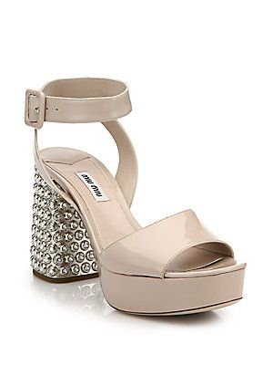 4dc78093a840 Miu Miu Crystal   Metal-Heel Patent Leather Sandals AED 3910.92 ...
