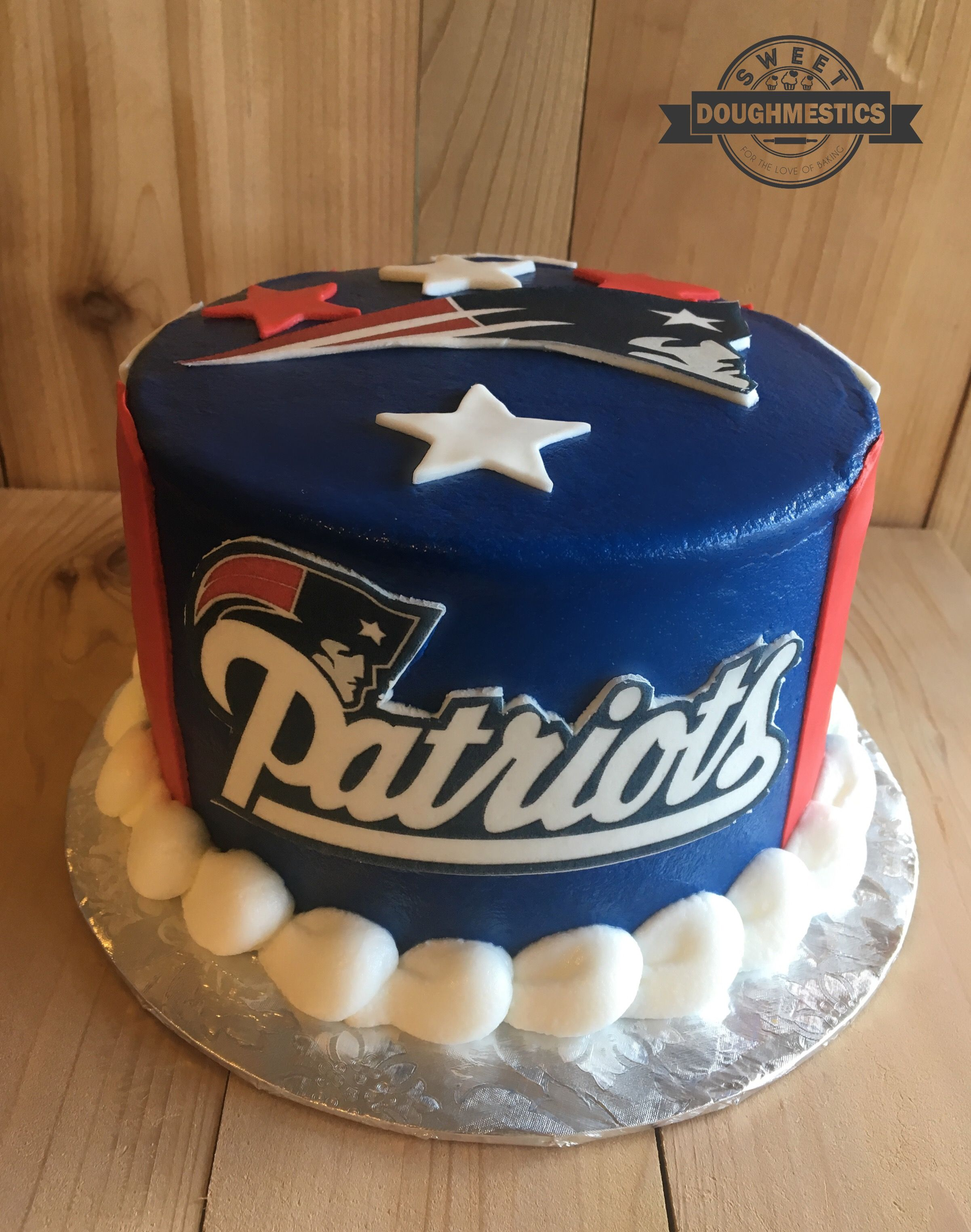 New England Patriots Cake By Sweet Doughmestics Patriotic Cake Cake Football Cake