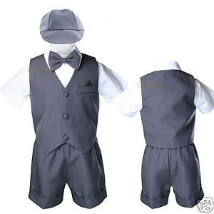 0bc79e414 Dark-Grey-Gray-Silver-Infant-Boy-Toddler-Formal-Vest-shorts-Suit ...