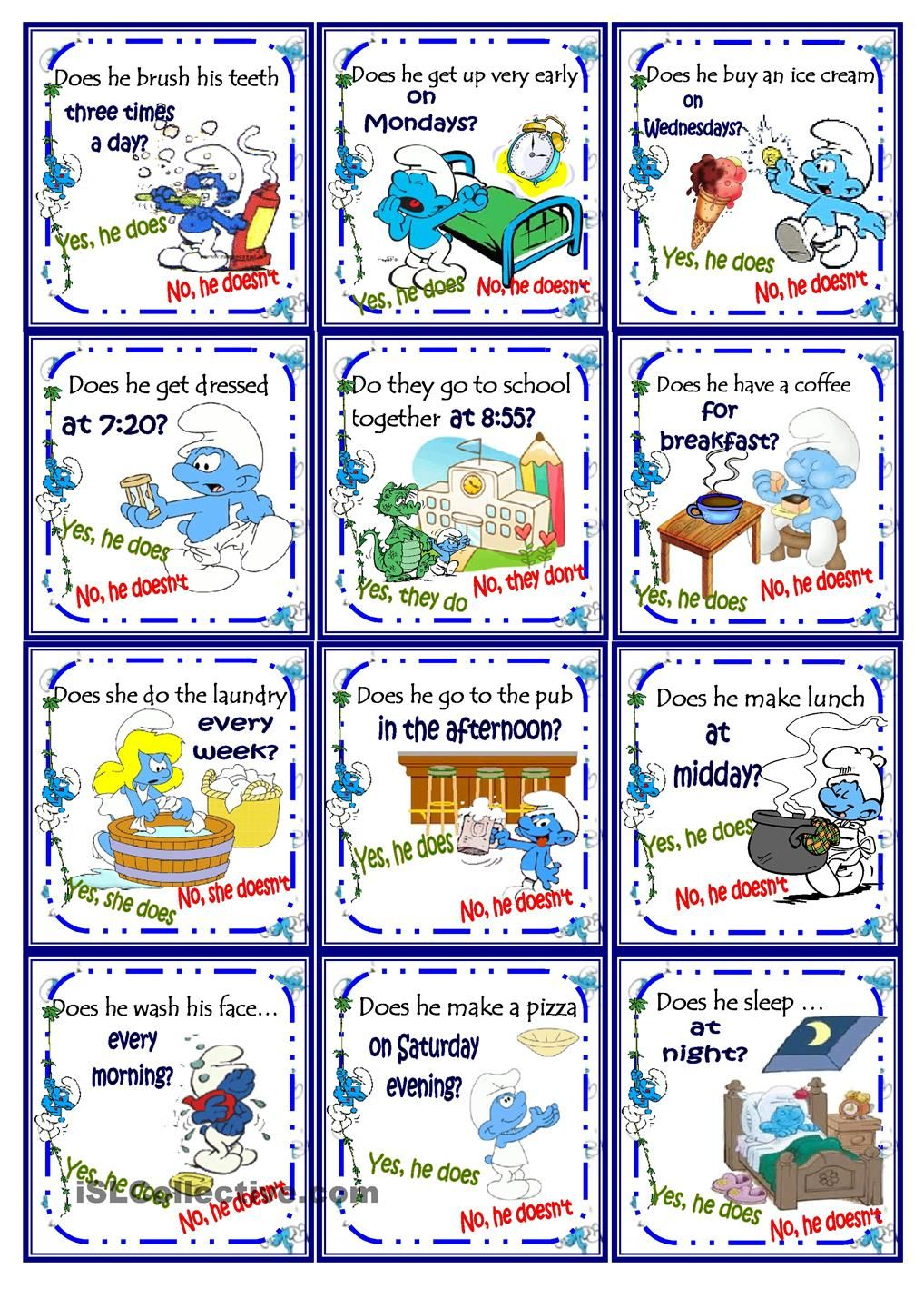 Smurfs Daily Routine (present Simple)Go Fish Card Game