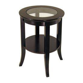 Winsome Wood Genoa Dark Espresso Round End Table 92218 End Tables Glass Top End Tables Espresso End Table