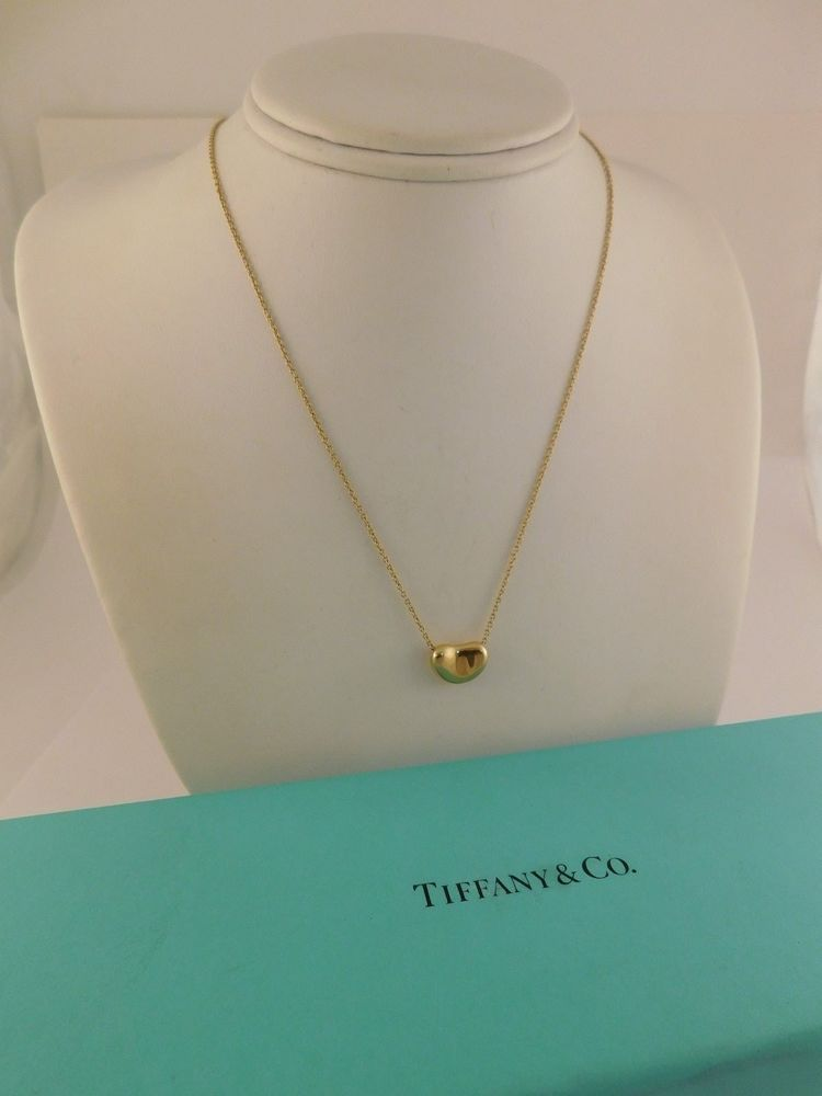 4574510e4 TIFFANY 18K YELLOW GOLD COFFEE BEAN PENDANT NECKLACE GIFT BOX ...