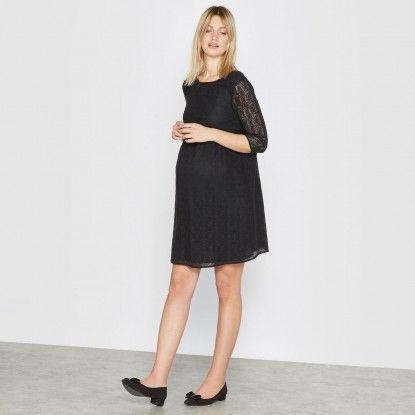 Ženska haljina za trudnice s čipkom R ESSENTIEL , crna