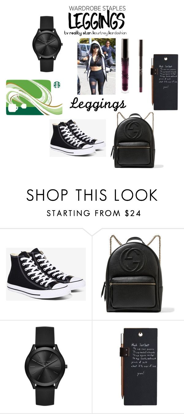 """""""WARDROBE STAPLES: LEGGINGS"""" by mandimwpink ❤ liked on Polyvore featuring Converse, Gucci, Michael Kors, Leggings and WardrobeStaples"""