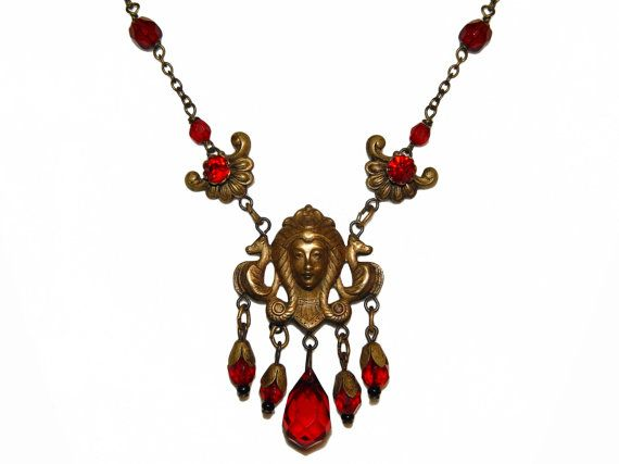Art Nouveau Necklace Czech Glass Signed 1920 Rare by PearlModern, $165.00