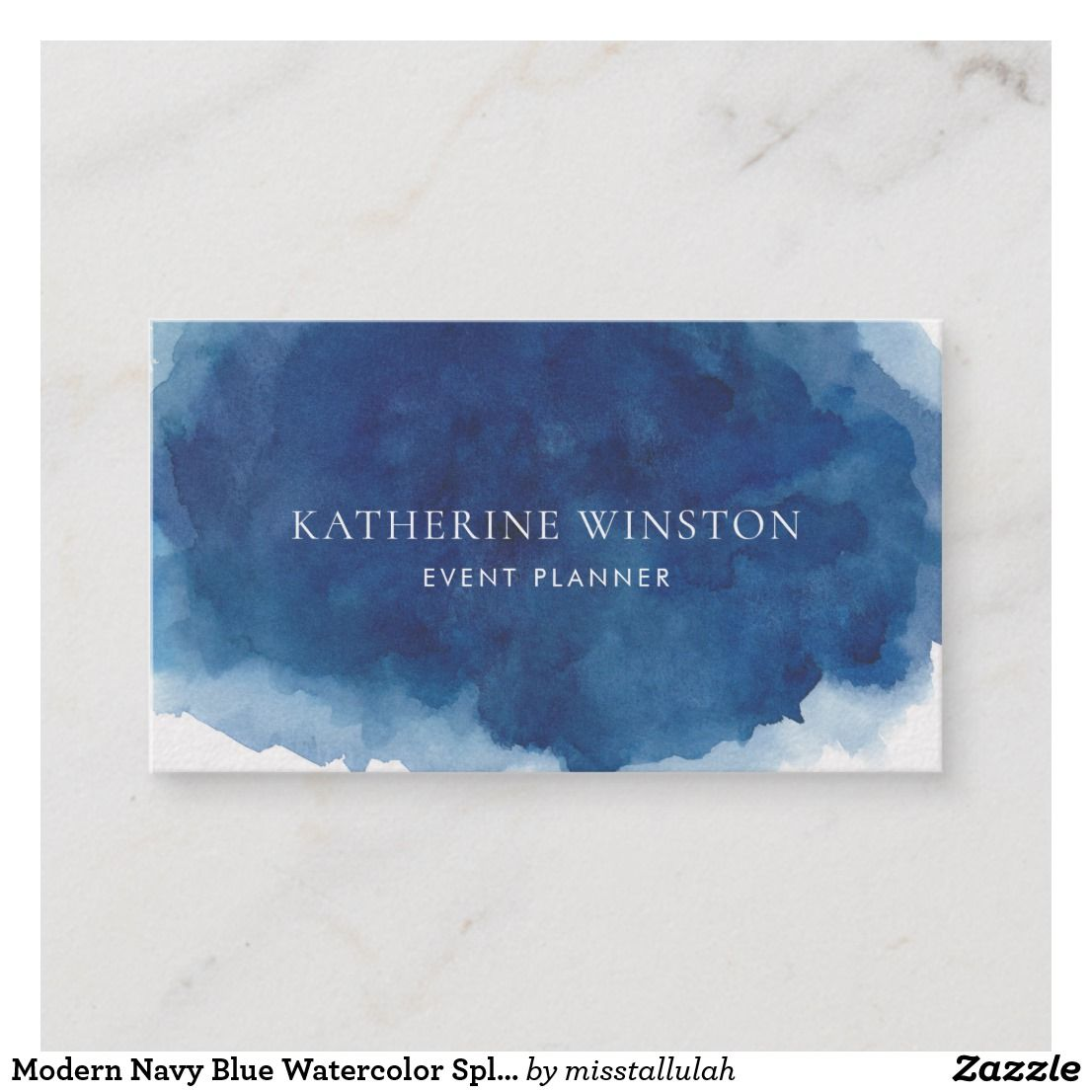 Modern Navy Blue Watercolor Splash Background Business Card