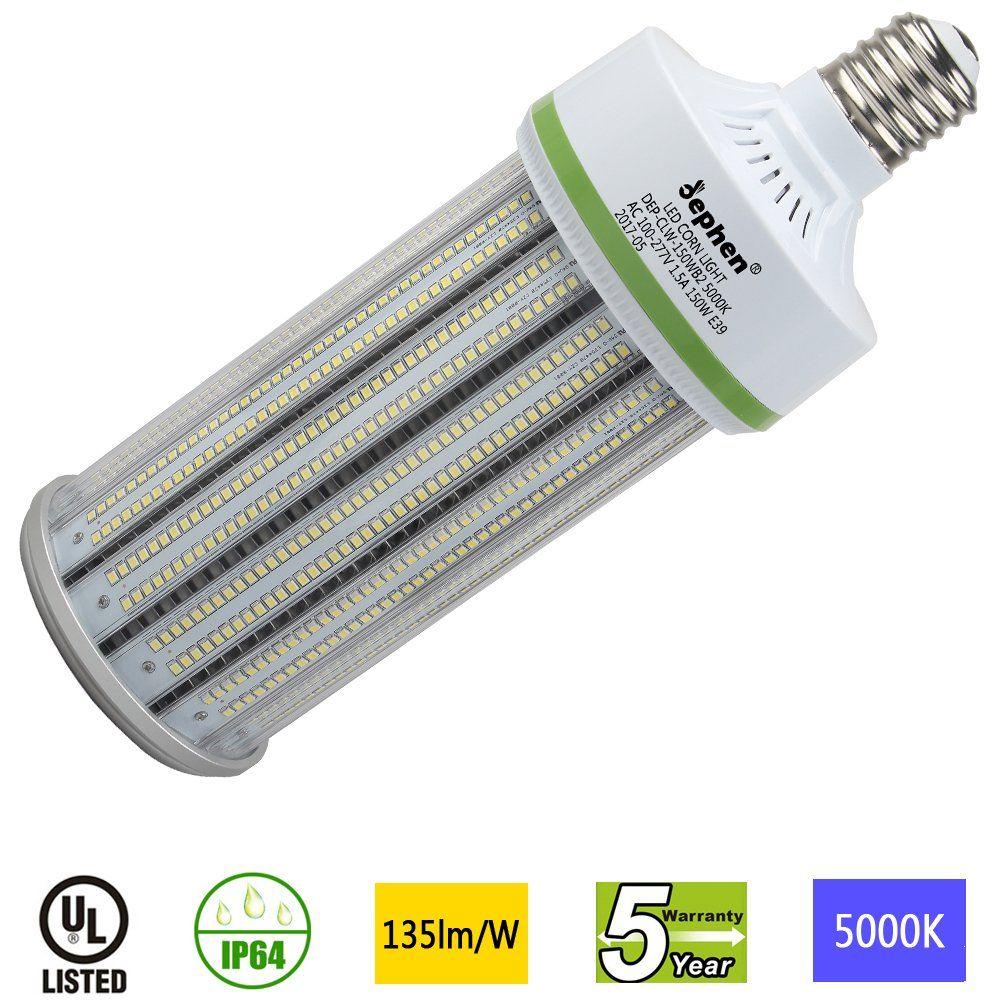 Dephen 150w Led Corn Light Large Mogul E39 Base Led Corn Bulb 5000k 20250 Lumens 1000w Incandescent Equivalent Replacement For 5000k Bulb Garage Lighting