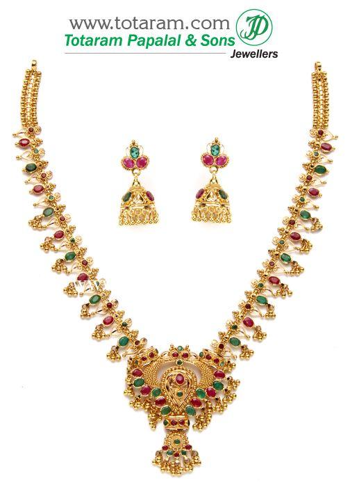 22K Gold Ruby Emerald Necklace Drop Earrings Totaram Jewelers