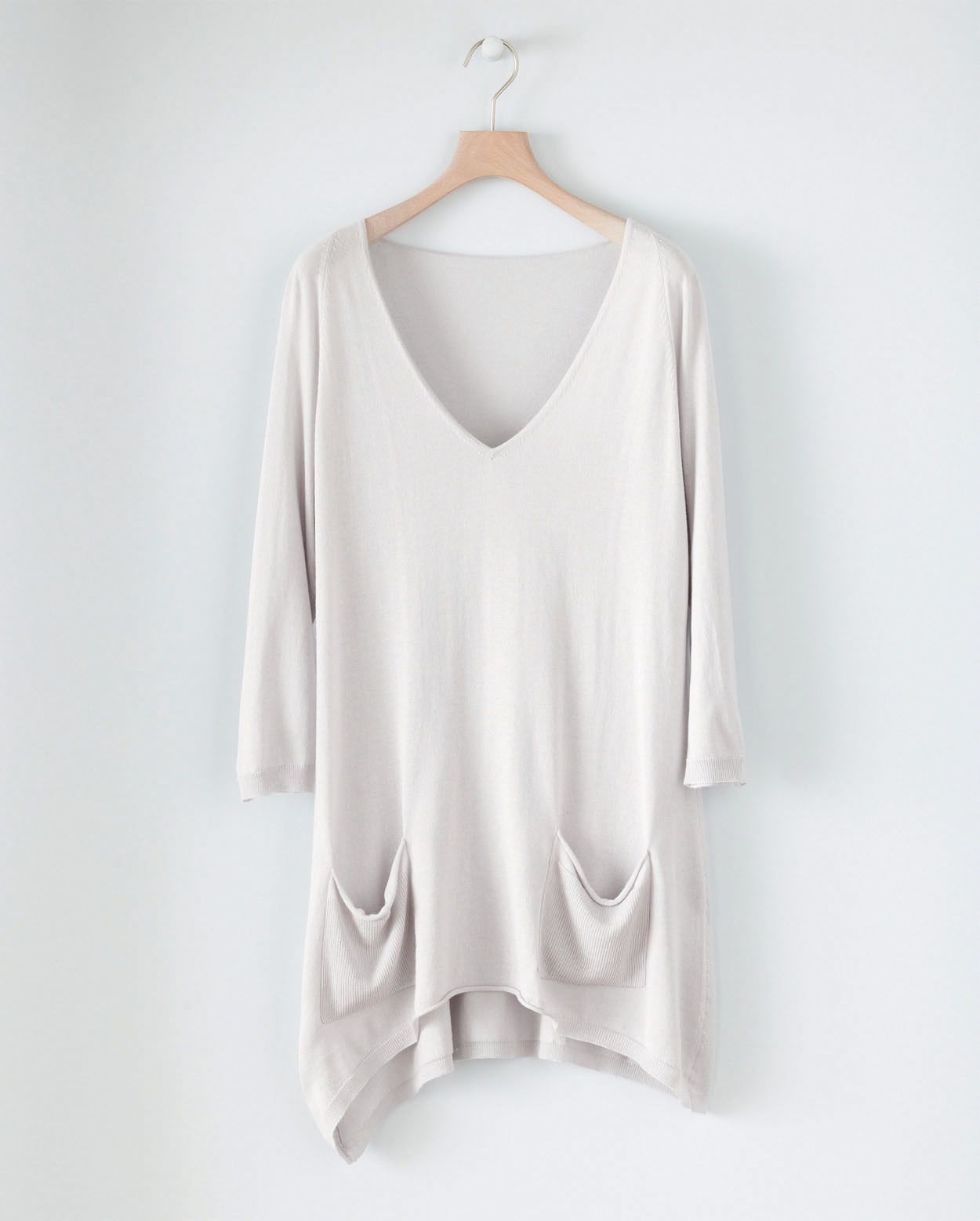 Silk Cashmere Dipped Hem Sweater - wear it with leggings and boots for Fall
