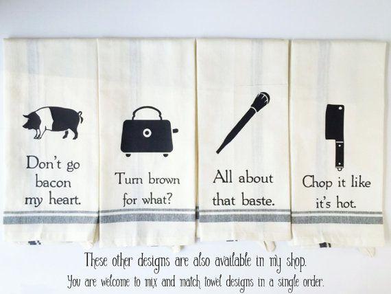 Funny Kitchen Towels Dish Towels Funny Funny Tea Towels Hand Towels Food Puns Wedding Gift Housewarming Gift I Like Big Bundts