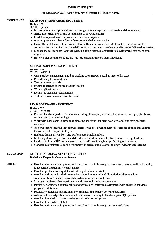 Software Architect Resume Examples Architect resume