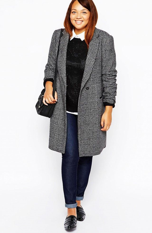 5eb29d0f30 New Look Inspire Check Coat in Multi and ASOS CURVE Super Sexy Skinny Jeans  in Indigo.
