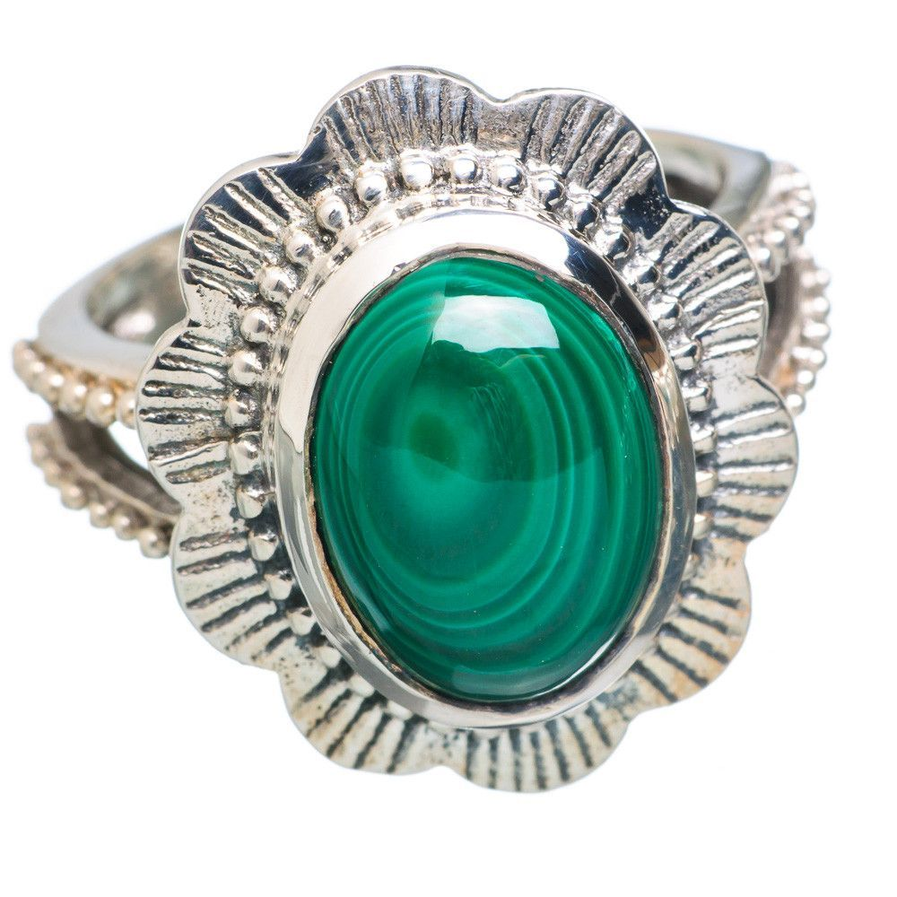 Malachite 925 Sterling Silver Ring Size 8.25 RING749907
