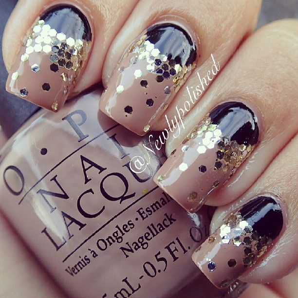 Nail art nude black ruffian with golden glitter instagram nail art nude black ruffian with golden glitter instagram photo by newlypolished prinsesfo Images