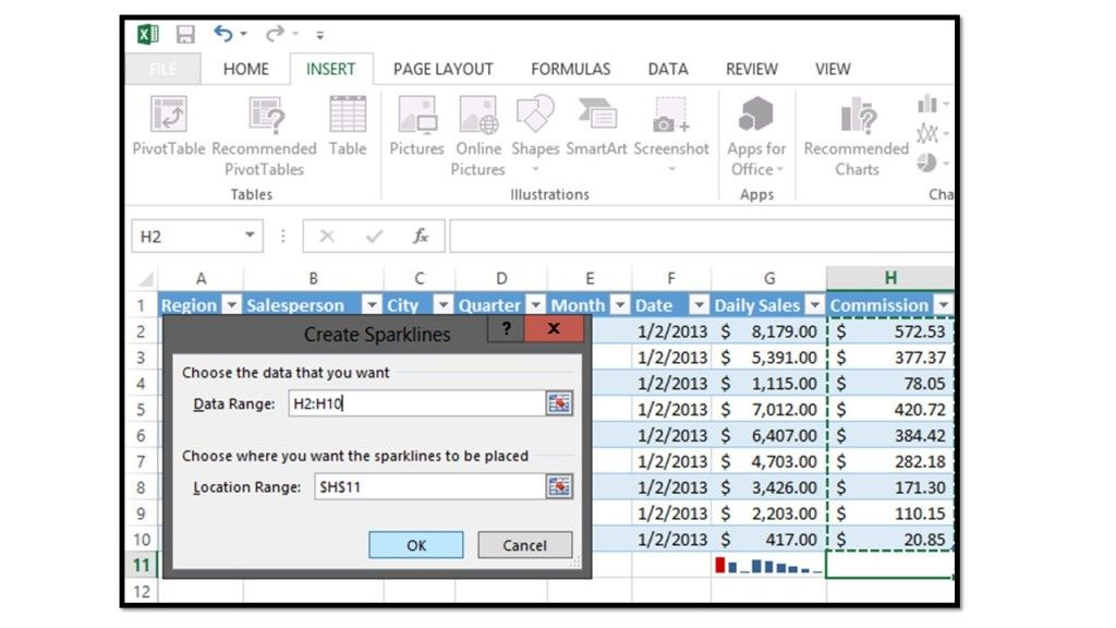 Inserting and Deleting Sparklines in Microsoft Excel 2013