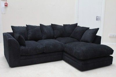 New Byron Dylan Black Jumbo Cord Sofas Corner Sofas 3 Seater 2 Seater Left Hand Corner Corner Sofa Sofa Suites Sectional Couch