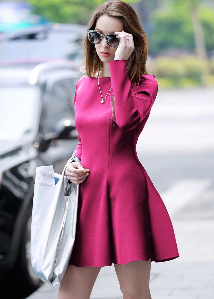Rose Red Long Sleeve Flare Dress $15.17 | Dresses & Skirts ...