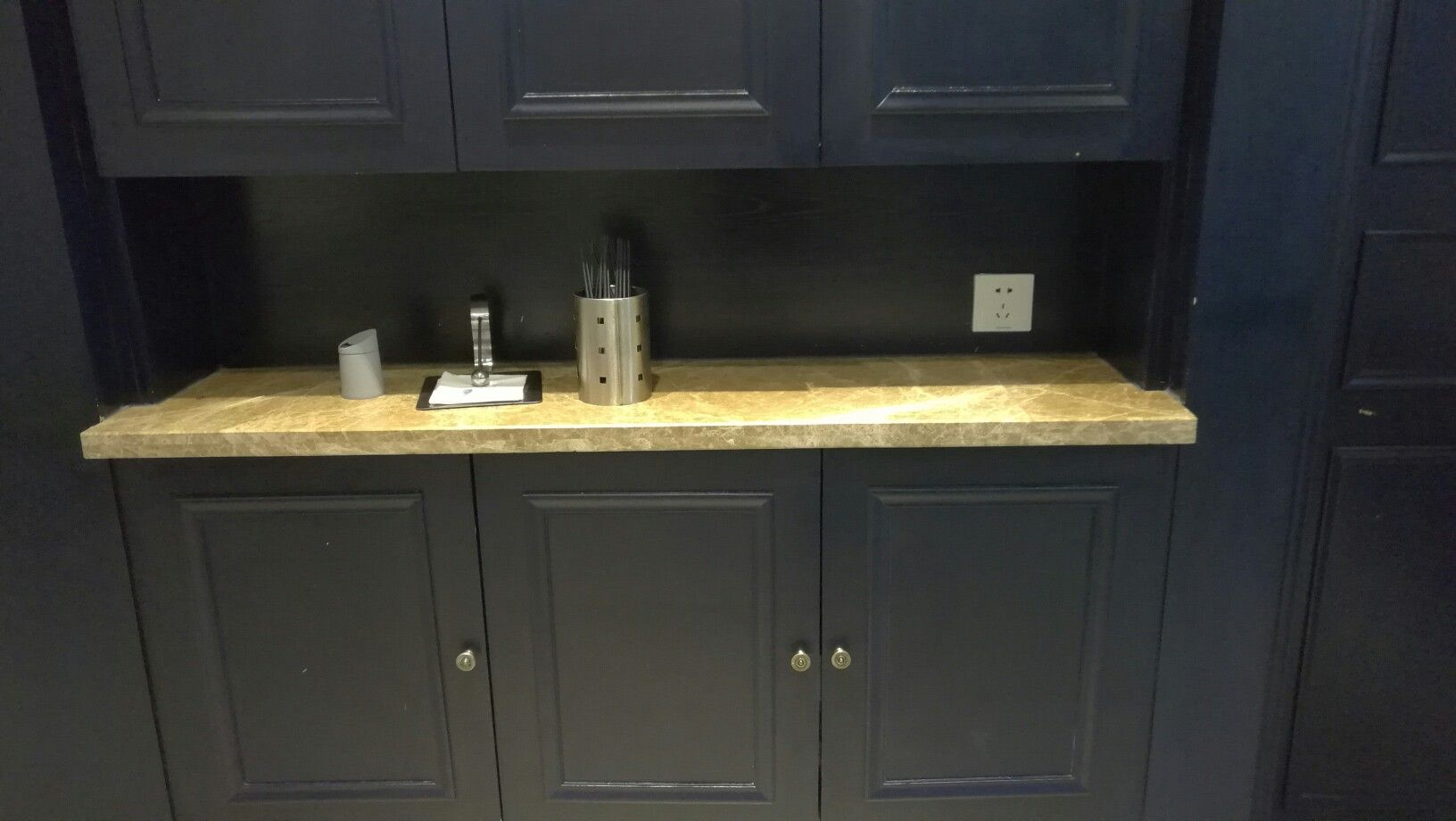 Wood Cabinet And Marble Emperador Light Countertop Wood Cabinets